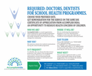 Required: Doctors,  Dentists for School Health Programmes.